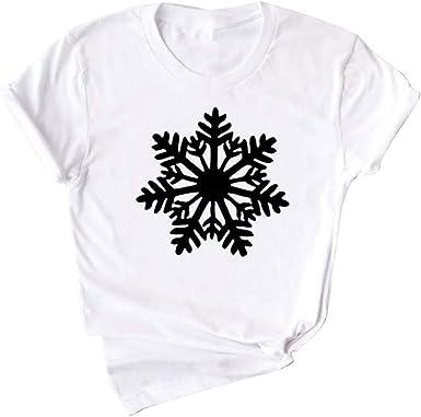 Mujer Blanco Negro T-Shirt Mangas Cortas Camiseta con Cuello ...