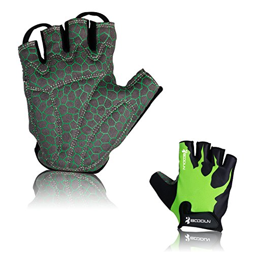 Cycling Gloves Half Finger Biking Gloves DONWELL Men Gloves For Bicycle Bike Riding Anti-slip Breathable Fitness Outdoor Sports Workout Gloves (Green & Black, M) by DONWELL
