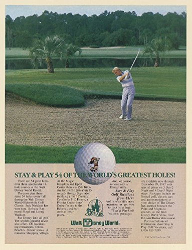 1987 Walt Disney World Golf Stay and Play 54 of World's Greatest Holes Print Ad - Walt Posters Disney World