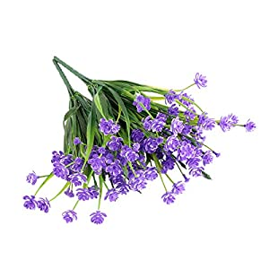 Louiesya Daffodils Artificial Flowers Fake Plants Outdoor UV Resistant Greenery Shrubs Bush Indoor Outside Home Garden Décor Plastic Flower Hanging Planter 4 Pcs (Purple) 3