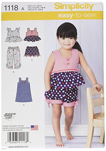 (Simplicity Patterns 1118 Toddlers' Dress, Top and Cropped Pants or Shorts, A (1/2-1-2-3-4))