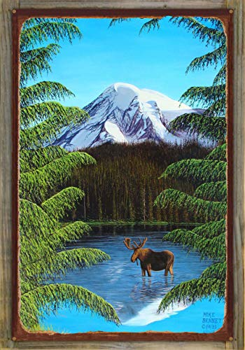 Northwest Art Mall Moose at Mt. Rainier Rustic Metal Print on Reclaimed Barn Wood by Mike Bennett (24