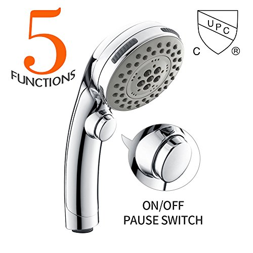 HOMELODY High Pressure Handheld Shower Head with ON/OFF Pause Switch 5-settings Water Saving Showerhead Shower , Chrome Finish Bathroom Puppy Shower Accessories, US cUPC Certific