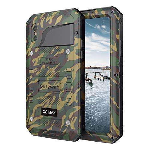 Mitywah Waterproof Case for iPhone Xs MAX, Shockproof Full Body Cover with Screen Protection, Heavy Duty Military Grade Defender Impact Rugged Strong Though Metal Shell for Outdoor, Camouflage