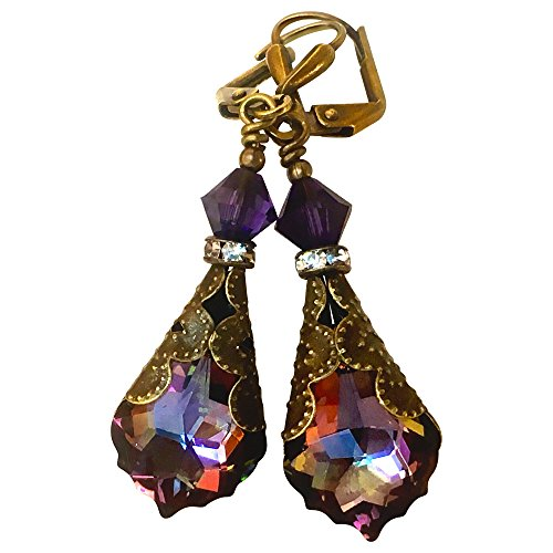 HisJewelsCreations Baroque Crystal Vintage Inspired Leverback Drop Earrings (Purple -