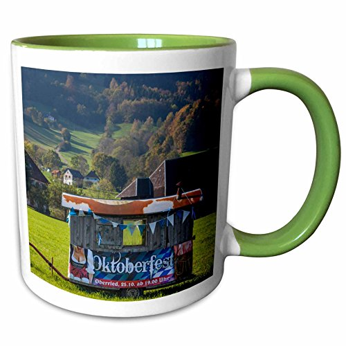 3dRose Danita Delimont - Black Forest - Germany, Oberried, valley view with Oktoberfest beer wagon - 11oz Two-Tone Green Mug (Oktoberfest Beer Wagon)