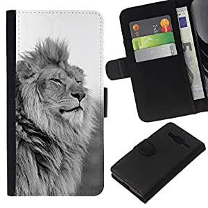 KingStore / Leather Etui en cuir / Samsung Galaxy Core Prime / Black White Mane puissant