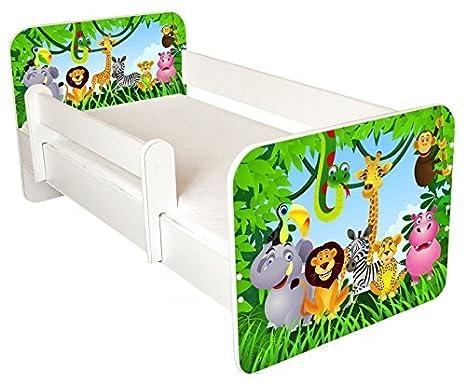 Cama infantil con colchón incluido, diseño jungla: Amazon.es ...