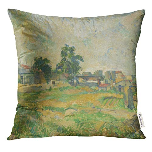 Emvency Throw Pillow Cover Landscape Near Paris by Paul Cezanne 1876 French Post Impressionist Painting Oil on Canvas During His Decorative Pillow Case Home Decor Square 18x18 Inches Pillowcase