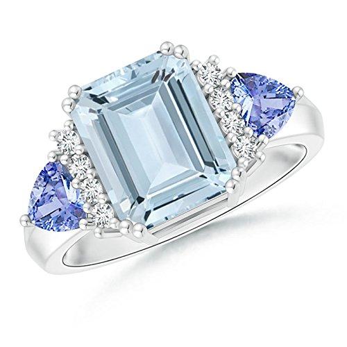 Emerald Cut Aquamarine Trillion Tanzanite 3 Stone Ring for Women in Platinum (10x8mm Aquamarine)