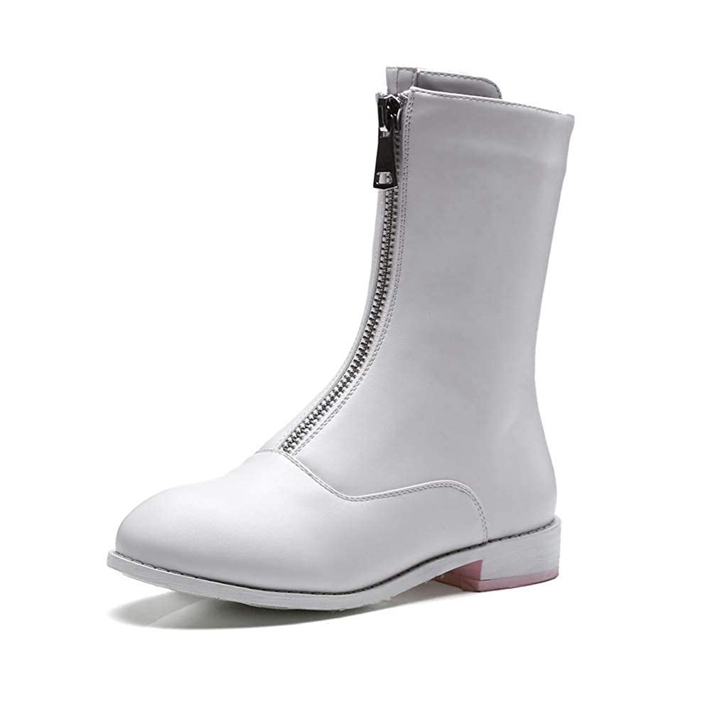 White Hoxekle Front Zipper Flat Women Mid Calf Boots Fashion Ladies Round Toe Boots Spring Autumn Short Casual Boots