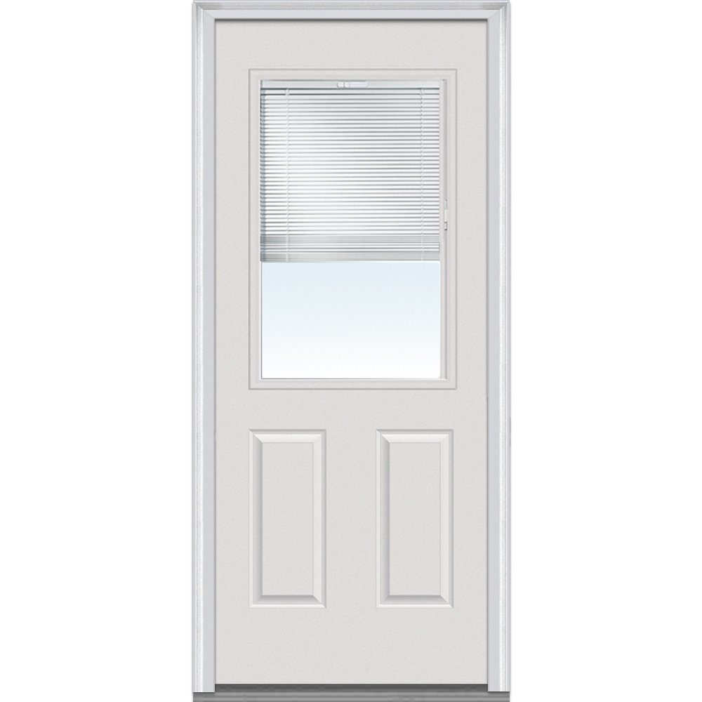 National Door Company EMJ684BLPR26R Steel Primed, Right Hand In-swing, Prehung Door, 1/2 Lite 2-Panel, Clear Glass with RLB, 30'' x 80''