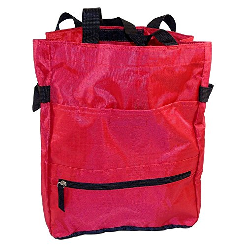 Bagedge Big Accessories (Urban Tote Bag - 100% Polyester Ripstop Fabric,Best for Shopping, School, Travel, Red - by BagEdge)