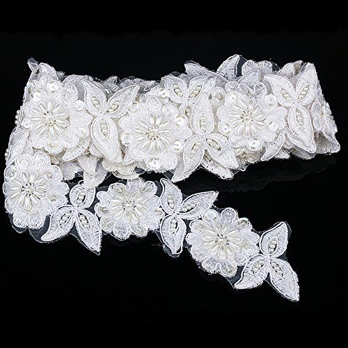 3D Flower Embroidery Sequin Lace Trim Organza Lace Ribbon Fabric With Faux Pearl For Bridal Dress Sewing Shoes Decorating & Hair Accessories Supply Approx 1-3/4