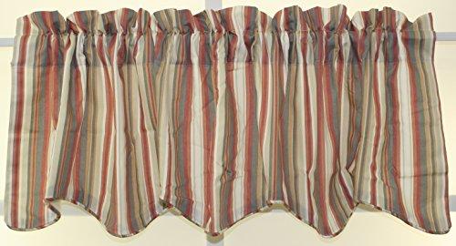 - Mason Stripe 70Wx17L Lined Scallop Valance- Clay