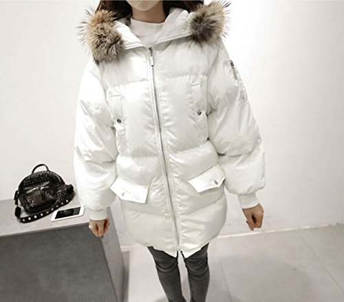 Jacket Xuanku Women'S Cotton Hooded Collar Hair Of Jacket Feather Women'S Cotton Dress The Loose Section White Long Real aqHAxF