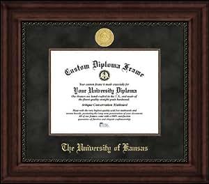 University of Kansas Jayhawks - Gold Medallion - Suede Mat - Mahogany - Diploma Frame
