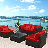 Superior Modenzi 5G U Outdoor Sectional Patio Furniture Espresso Brown Wicker Sofa  Set (Red)