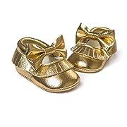 Royal Victory R&V Unisex Infant Baby Boys Girls' Premium PU Soft Sole Bow Prewalker Toddler Shoes 12Colors (12cm (6-12months), Gold)