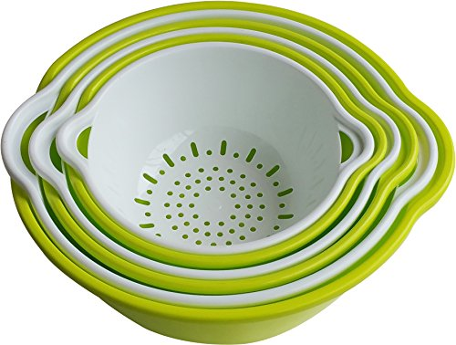 (Voucchi 6 Piece Mixing Bowls and Nesting Colanders Set - Green &)