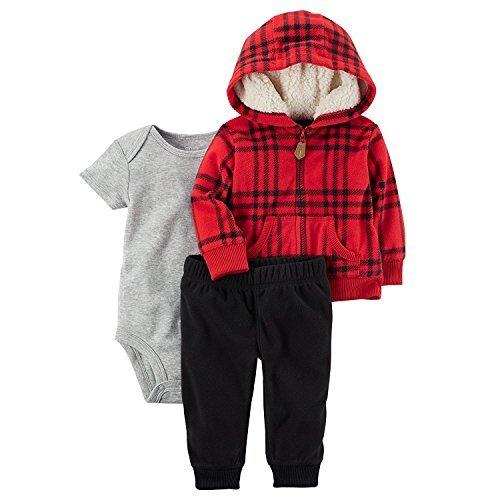 Carter's Baby Boys' 3 Piece Plaid Print Little Jacket Set 3 Months