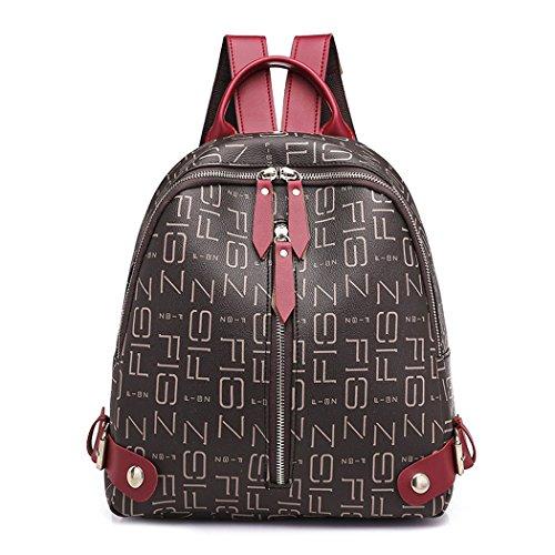 DEERWORD Mujer Bolsos mochila Bolsas escolares Bolsos bandolera Shoppers y bolsos de hombro Cuero de PU Marrón