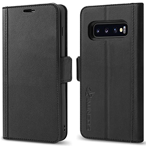 Galaxy S10 Plus Wallet Case [3D Full Cover] AUNEOS Premium Leather Case for Samsung Galaxy S10 Plus (6.4) [Genuine Leather] [Card Slot] Magnetic Folio Flip Case for S10+ (S10Plus(6.4), Black)