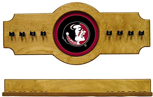 NCAA Florida State Seminoles FSUCRR100-O 2 pc Hanging Wall Pool Cue Stick Holder Rack - Oak