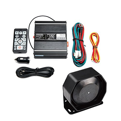 VSEK SoundAlert 20 Tones 100W Emergency Vehicle Warning Siren Slim Speaker PA System Set w/ Wireless Remote Control - Wireless System Emergency Security