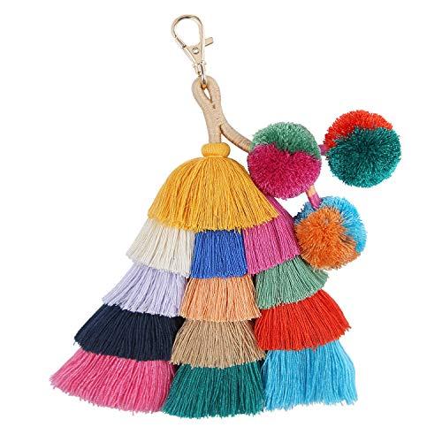 Colorful Pom Pom Tassel Handmade Boho Bag Charm Pendant Key Chain Rings