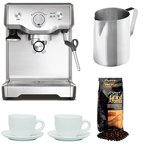 Breville BES810BSS The Duo-Temp Pro Espresso Machine + Frothing Pitcher, Tiara Cups and Grand Aroma Coffee