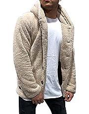 BIBOKAOKE Heren fleece mantel herfst winter warm suède jas teddy fleece knuffeljas pluche aan beide zijden katoenen jas fleece jas pluche pluizig jas winterjas