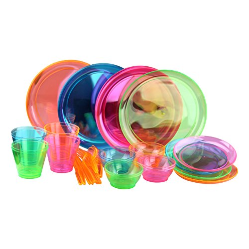 Complete Bright Neon Party Set! Includes Assorted Colors Plates, Bowls, Cups & Cutlery