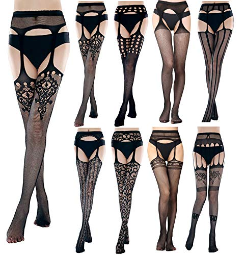 Subiceto 8 Pairs Womens Fishnet Tights Suspender Pantyhose Thigh-High Stockings Black