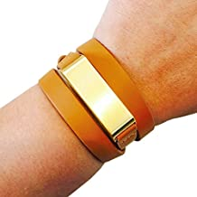 Fitbit Bracelet for Fitbit Flex Fitness Activity Trackers - The KATE Brushed Metal and Premium Vegan or Genuine Leather Buckle Wrap Fitbit Bracelet