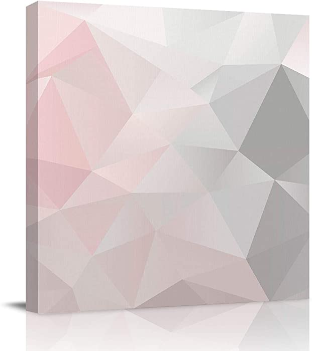 Canvas Prints Wall Art Paintings 20x20 inches Pink Grey Gradient Geometric Triangle Wall Artworks Pictures for Living Room Bedroom Decoration Home Kitchen Bathroom Wall Decor Posters