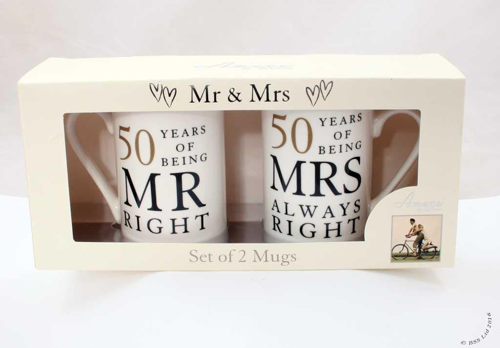 amazoncom 50th anniversary gift set of 2 china mugs u0027mr right u0026 mrs always rightu0027 coffee cups u0026 mugs