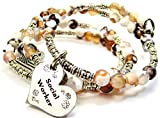 Chubby Chico Charms Social Worker Microcrystalline Quartz Wrap Agate Stone Bracelet in Brown