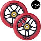 Fuzion Pro Scooter Wheels 110mm Hollow Core Stunt Scooter Sig Wheels with ABEC - 9 Bearings Pair (Trace Red/Black)