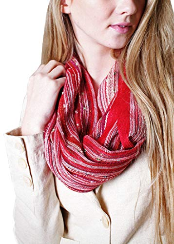 - Women's Shimmer Sparkle Infinity Scarf, Festival Bliss Lightweight Fashion Shawl (Romance Red)