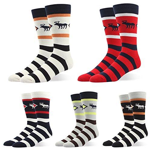 Mens Dress Shoe Socks Striped Pattern Formal Business Mid Calf  Toe Heel Reinforced Gift Boxed  Us Men Size 10 5 14 Eu 44 5 49  Stripe Chrismas