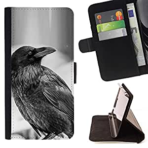 For Samsung Galaxy S4 Mini i9190 Raven B&W Beautiful Print Wallet Leather Case Cover With Credit Card Slots And Stand Function