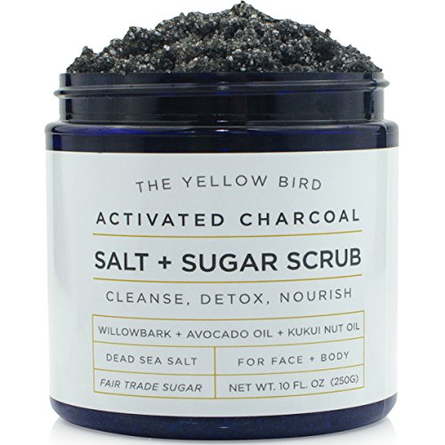 Natural Activated Charcoal Body & Face Scrub. Exfoliating Dead Sea Salt & Sugar Scrub. Deep Cleansing Pore Minimizer. Anti Cellulite, Acne, Blackhead, Scars, Wrinkle (Natural Sugar Scrub)