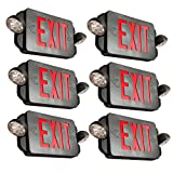 eTopLighting [6 Pack] LED Exit Sign, Emergency Light Red Lettering Combo with Extra Face Plate, UL924, Double Side Light, Ceiling / Wall Mount, AGG2160