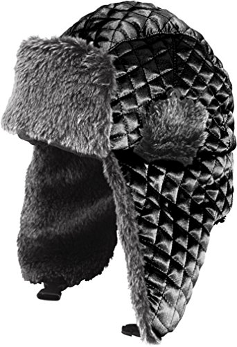 Fur Satin Hat (LL- Winter Trooper Trapper Hat Faux Fur Ear Flap Aviator Ushanka (Large/X Large, Black Satin))
