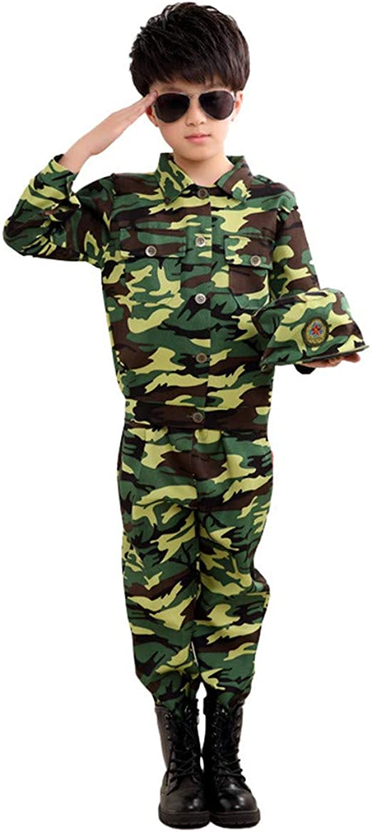Kids Child Boys Youth Soldier Army Military Camo Camouflage Woodland Costumes