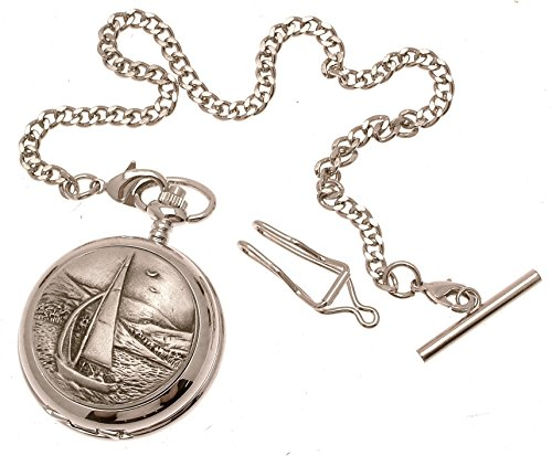 Solid pewter fronted quartz pocket watch - Sailing design 28 Solid Pocket Watch