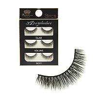 Generic Pack 3 Pairs Black Handmade Natural 3D Thick Long False Eyelashes