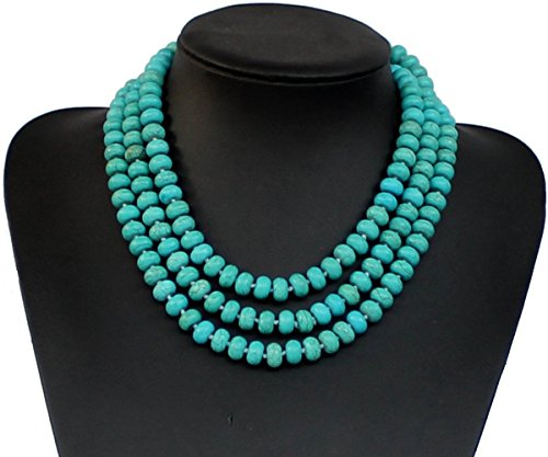 55 Inches Abacus beads Suanpan Turquoise Stone Beaded Necklace Chunky Necklace Turquoise Necklace Statement Necklace