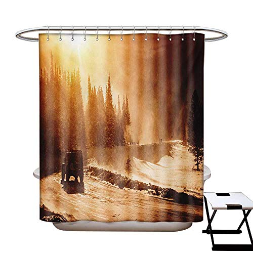 (Winter Shower Curtains 3D Digital Printing Colorado Mountain Road Winter Storm High Wind ICY Road Vehicle Custom Made Shower Curtain W48 x L72 Brown Orange Yellow)